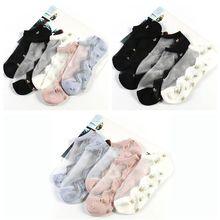 1Pair Flower Glass Silk Socks Woman Ultra-thin Crystal Cotton Bottom Summer Jacquard Breathable Elastic Short