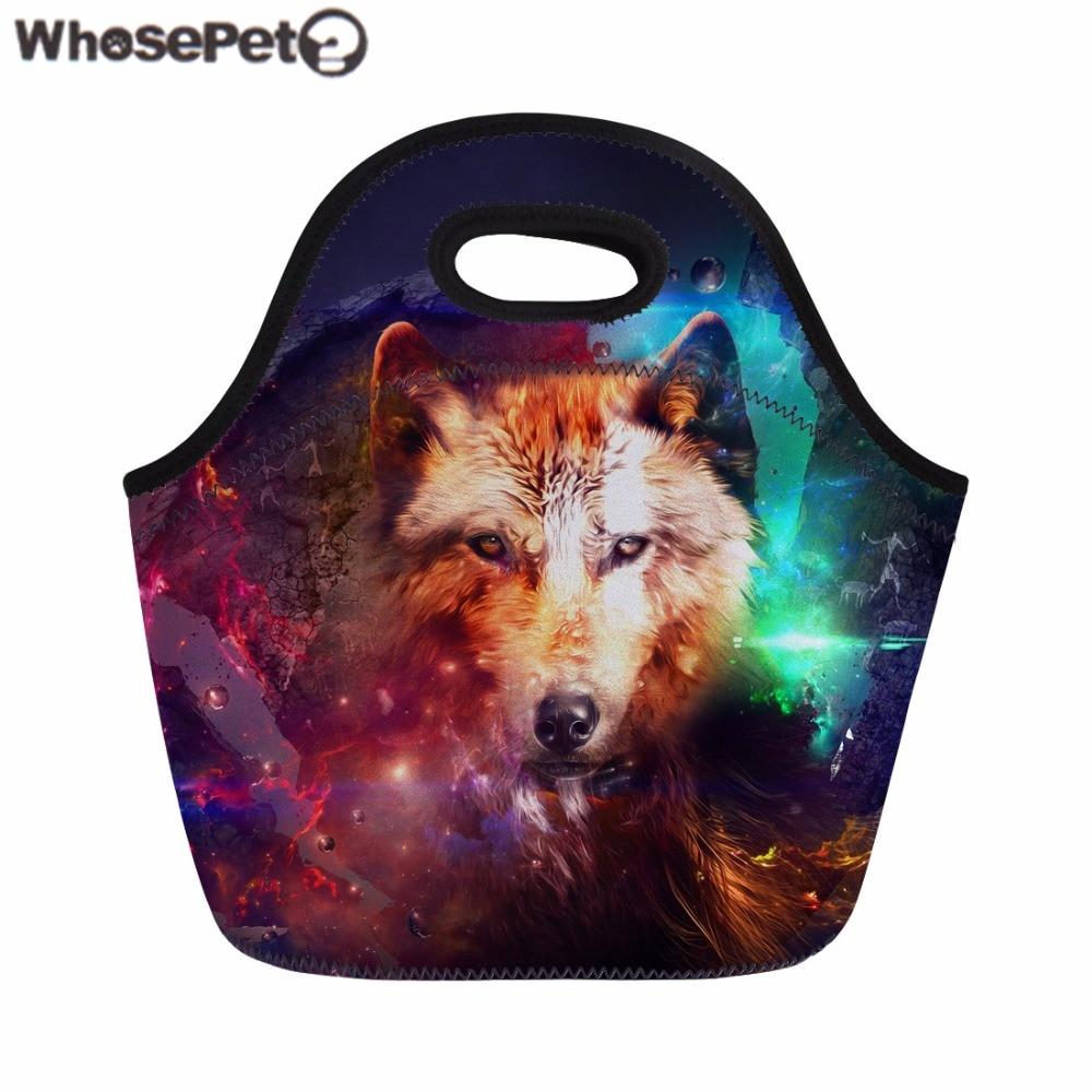 WHOSEPET Lunch Bag Wolf 3D Print Thermal Bag Kids Boys Girls Picnic Bag Fashion Portable Meals Sacola Insulated Food Storage Bag