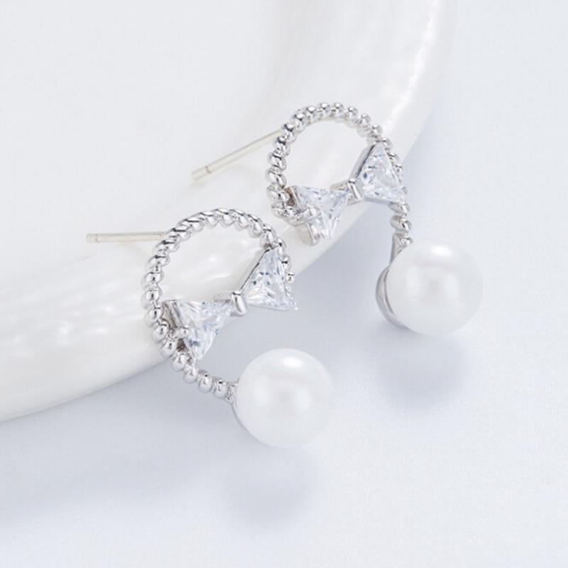 1 пара сладкие романтические Новая мода Серебряный Цвет бабочка узел моделирование жемчужные серьги для Для женщин Шарм ювелирных изделий