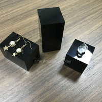 Pack of 3 pieces Black Acrylic Jewelry Displays Platform Earring Necklace Rings Chain Jewelry Sets Hobby Collectible Product