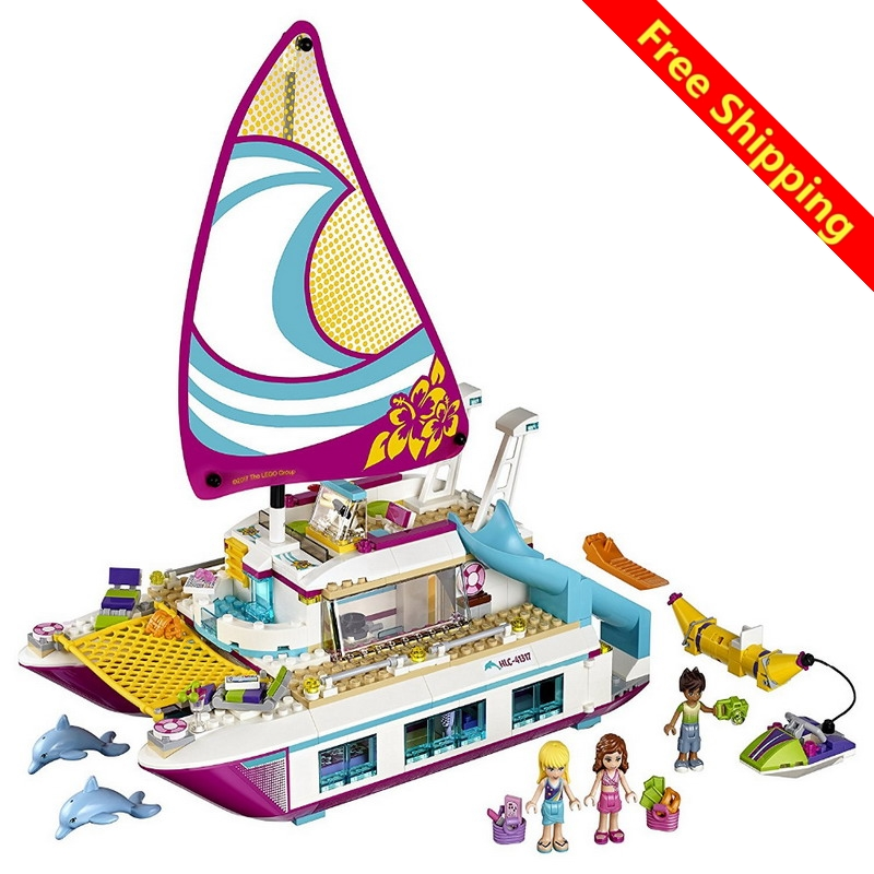 Lepin Friends Girl Series 651pcs Building Blocks Toys Sunshine Catamaran Kids Bricks Toy Girl Gifts Compatible Legoingly 41317 lepin 01040 friends girl series 514pcs building blocks toys snow resort chalet kids bricks toy girl gifts lepin bricks 41323