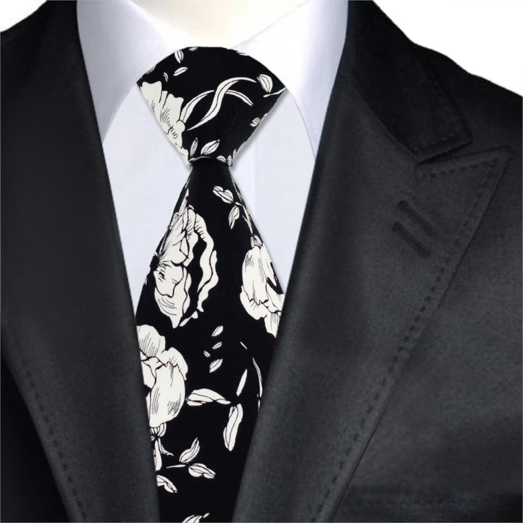 Tie Cravatta Con Fazzoletto Viola Oro /& Nero a Fiori