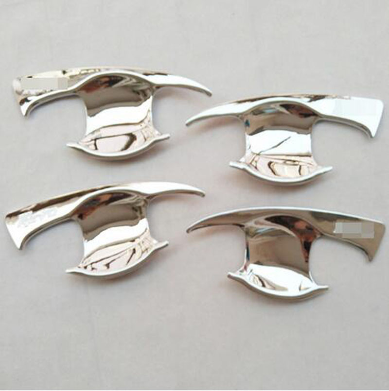 for Toyota Hilux Revo 2015 2016 + Abs Chrome  Door Handle Bowl Cover  Trim Car Styling Stickers Accessories  Decoration 4 Pcs 4 pcs chrome plated abs door handle bowl for nissan qashqai