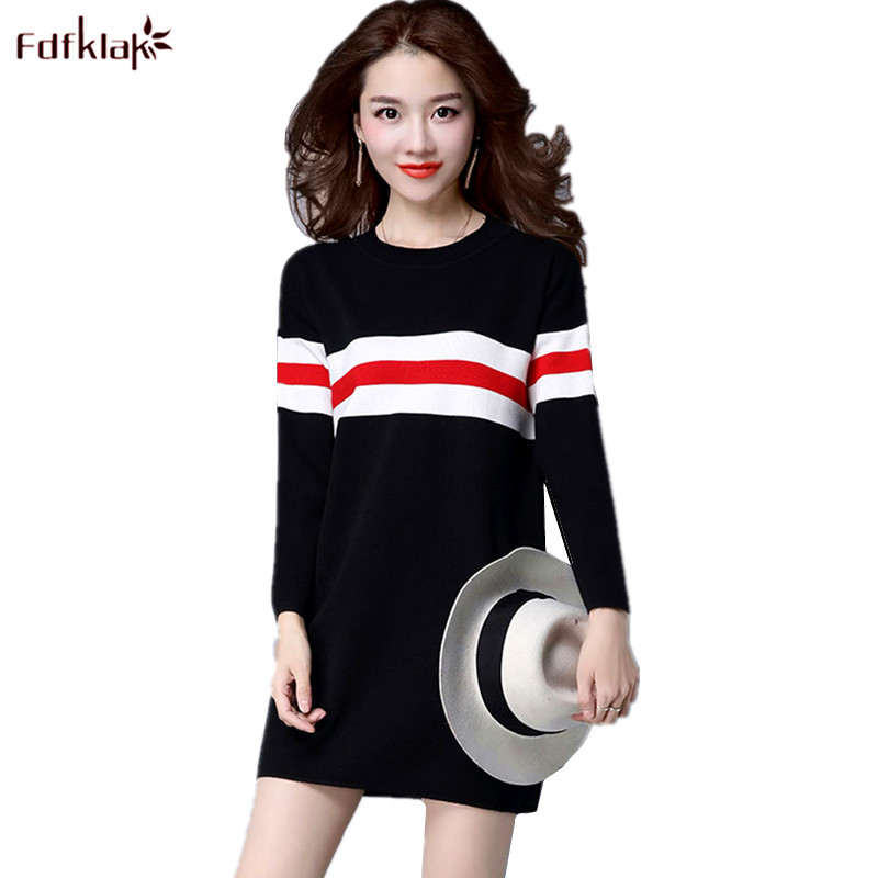 Fdfklak Spring Autumn Dresses for Women Long Sleeve Knitted Wool Sweater Short Mini Knit Dress Female Vestidos Pullover Dress
