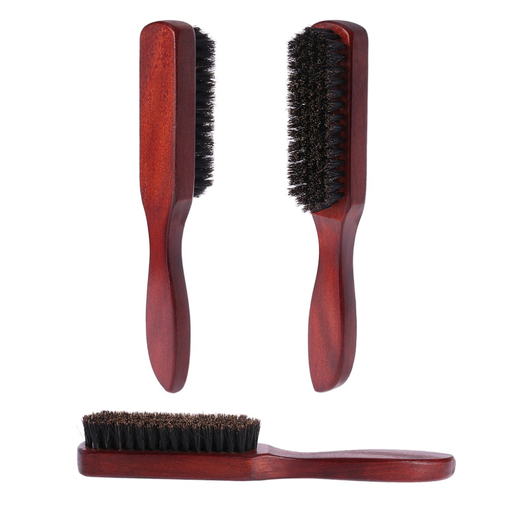 Hair Brush Wood Handle Boar Bristle Beard Comb Styling Detangling Straightening  Approx. 21x3x3cm