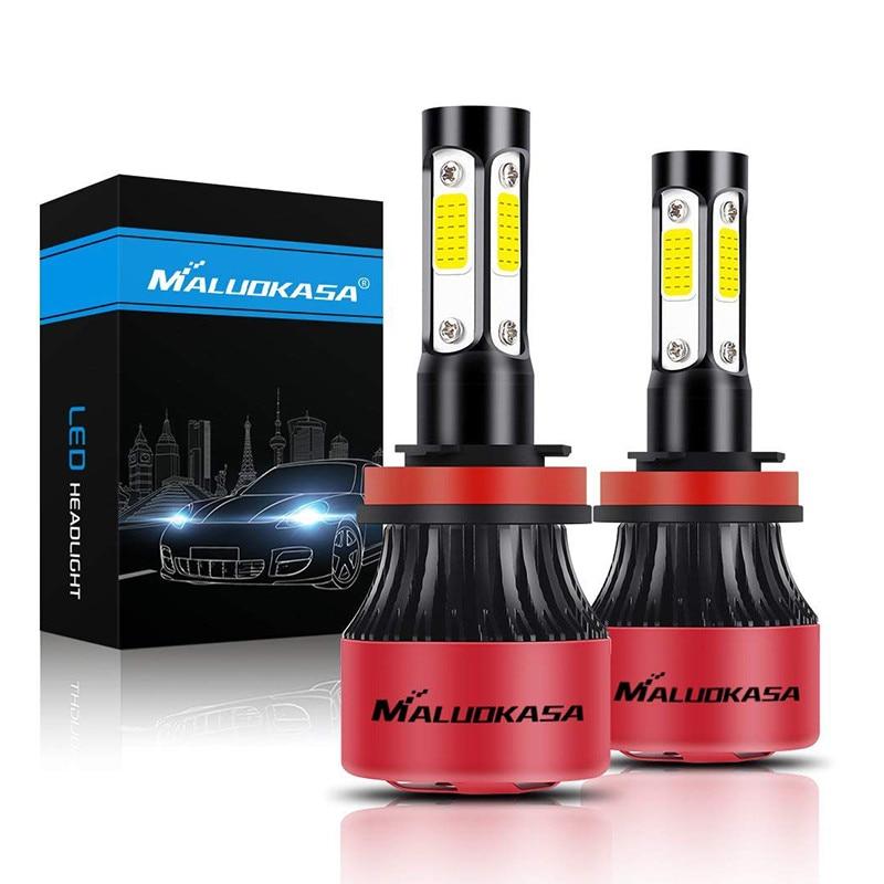 цена на MALUOKASA Car Headlight Bulbs Conversion Kit 6500K 8000LM 50W 4 Side COB Chips Super Bright H7 LED H4 Automotive Headlamp Lights