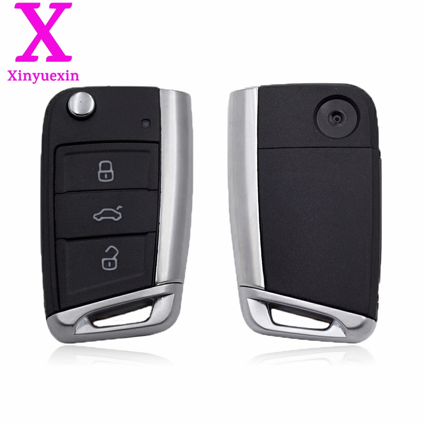 Xinyuexin Folding Remote Key Shell FOB Case for VW Golf 7 for Skoda Octavia A7 Flip 3Button Flip Key Cover for Golf MK7 No Logo топливоснабжение no logo 7 10an auto