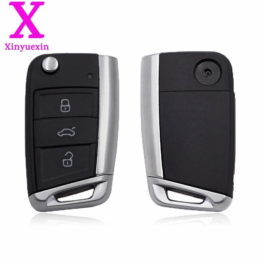 Xinyuexin Folding Remote Key Shell FOB Case for VW Golf 7 for Skoda Octavia A7 Flip 3Button Flip Key Cover for Golf MK7 No Logo planet nails книга жолобова ирина маникюр базовый курс