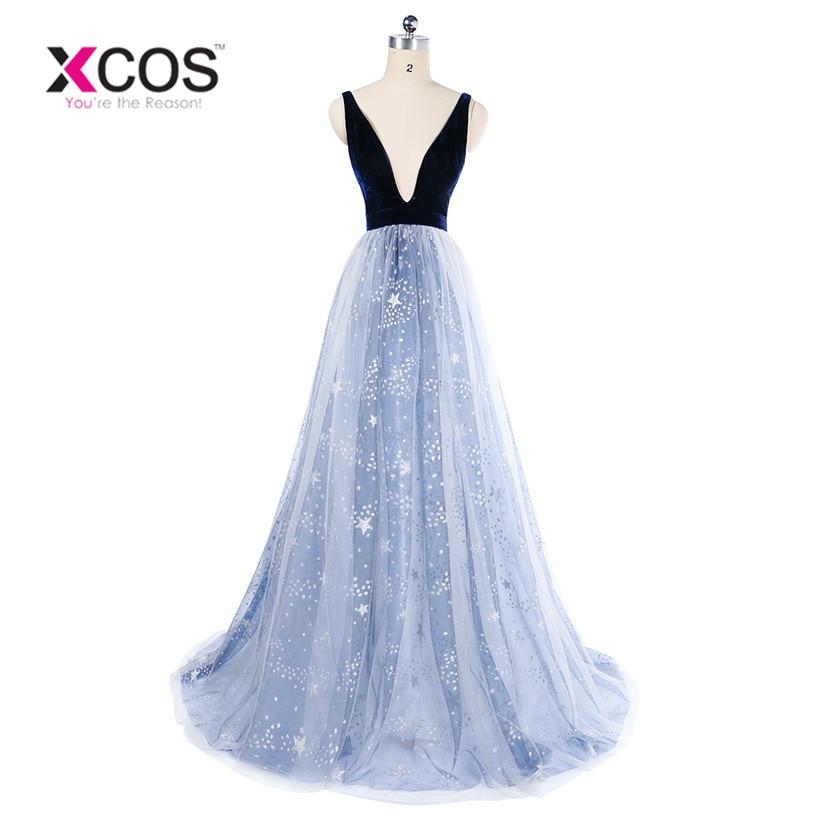 Sexy Deep V Neck Prom Dresses 2018 Bling Sequin Stars Navy Blue Long Evening Gowns vestido longo Floor Length vestido formatura