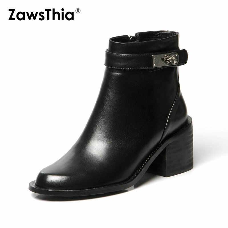 ZawsThia lüks marka hakiki deri siyah kadın yarım çizmeler kare tıknaz topuk bayan ayakkabı martin çizmeler botines mujer 2019