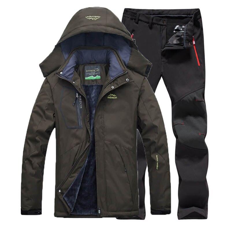Men Winter Ski Softshell Fleece Pant Hood Camping Trekking Climb Hiking Travel Waterproof Coat Fur Jacket