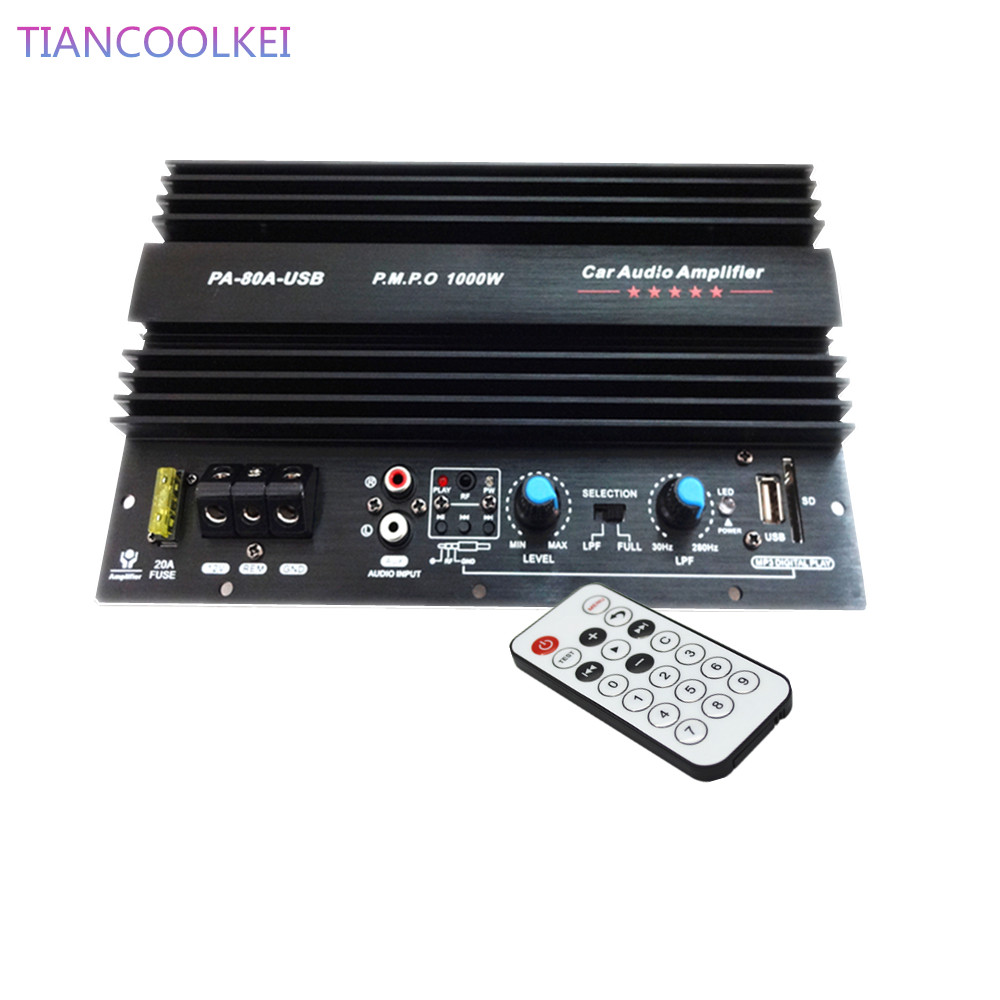 1000W car Subwoofer power amplifier board with USB plug U disk card
