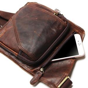 Image 5 - New High Quality Vintage Casual Crazy Horse Leather Genuine Cowhide Men Chest Bag Small Messenger Bags For Man  Shoulder Bags