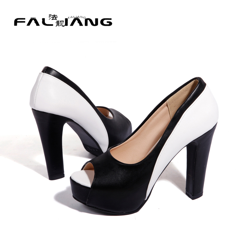 ФОТО Mixed Color Peep Toe Women Party Pumps Thick Soles Elegant High Heel Shoes Blue and Black Large Size