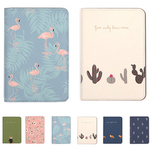PACGOTH Japanese and Korean Style Synthetic Leather Passport Wallets Cute Animal Prints Flamingo Cactus Travel Accessories