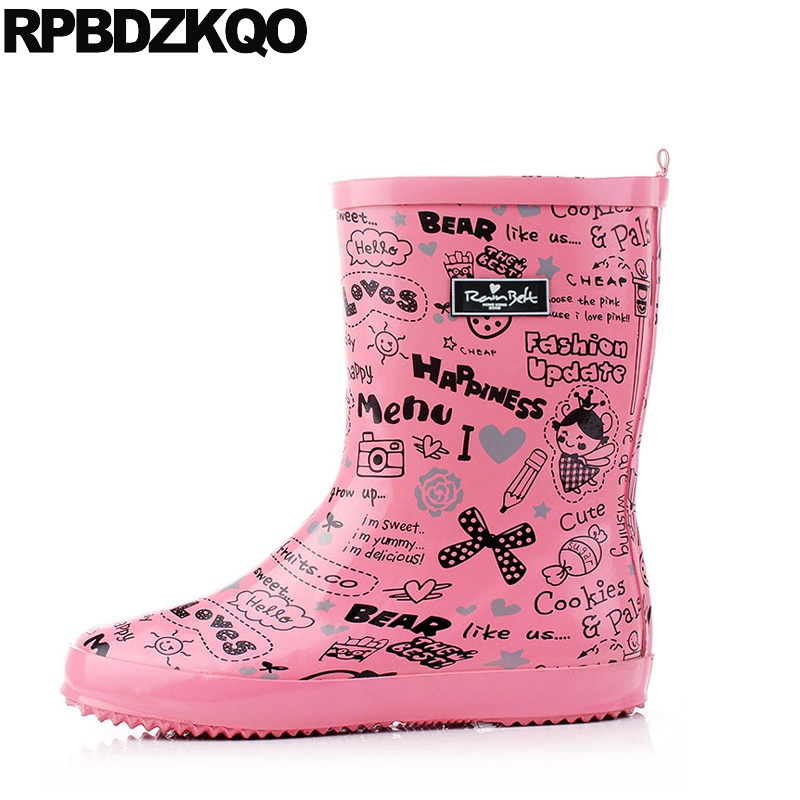 Women Waterproof Flat Cheap Pink Rainboots Mid Calf Rubber Winter Candy Rain Boots Shoes Cartoon Round Toe Slip On 2017 New