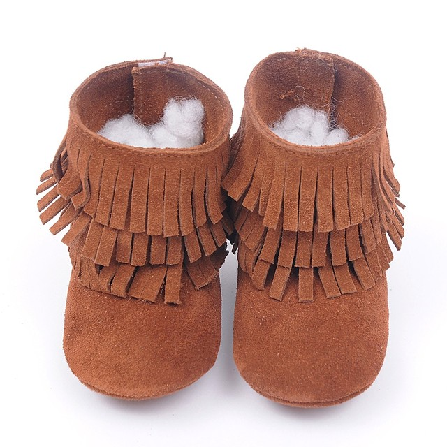High quality genuine leather Double fringe suede baby fashion booties baby moccasins boot Tassels Toddler Shoes first walkers