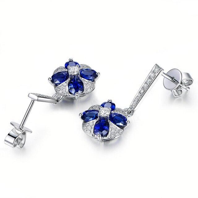 0.25 Carat taille ovale 4 bleu Sona boucles doreilles 925 en argent Sterling femmes mariage fiançailles anniversaire fête filles boucles doreilles