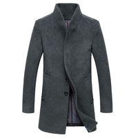 Men S Wool Coat Winter Long Sections Thick Woolen Coats Men Stand Collar Casual Fashion Casaco