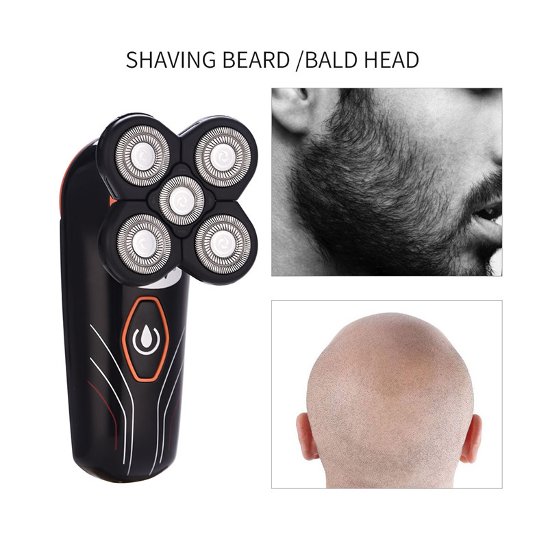 USB Rechargeable Electric Shaver Waterproof Bald Head Shaving Machine 5 Floating Blades Beard Trimmer Professional Grooming Kit