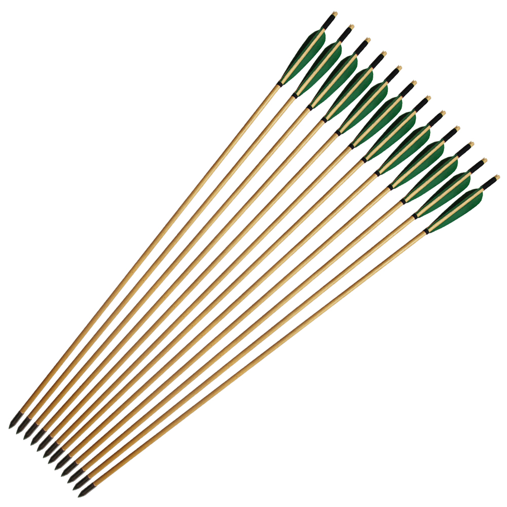 12PCS Long Bow Arrow Traditional Wood Arrow Bow Recurve Bow Arrows 33 with Green Turkey Feather 12 pk wooden arrows turkey zebra patton feather wood shaft archery recurve bow longbow