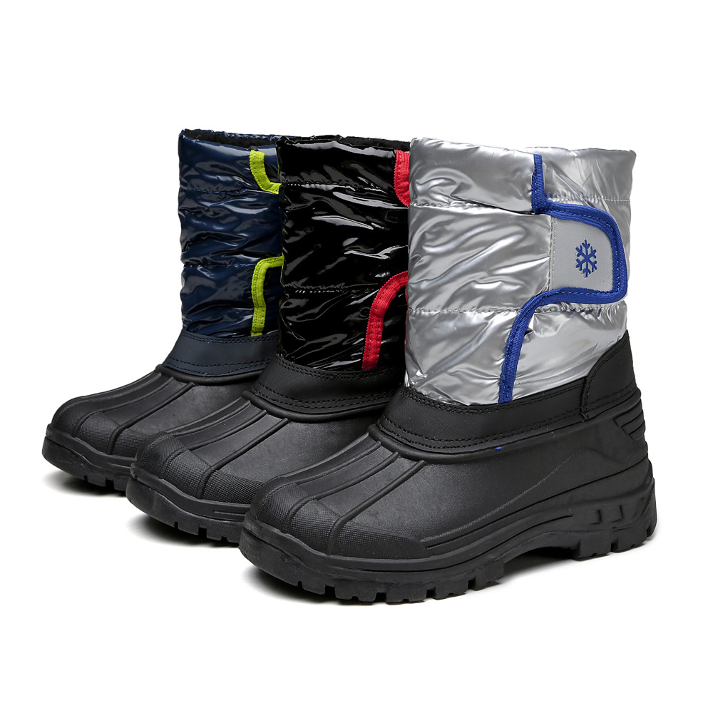 все цены на 2018 Girl Shoes New Boys Snow Boots Brown Grey Kids Winter Warm Upper waterproof Children Boots Mid-calf Student Shoes Free ship онлайн