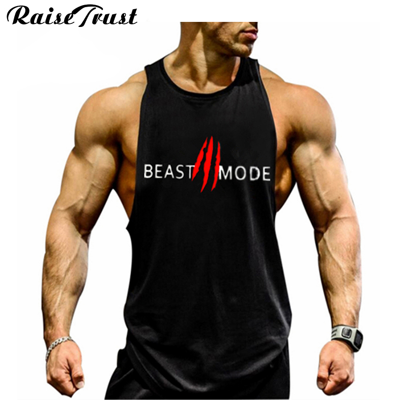 Buy new 2017 fashion cotton sleeveless Fitness shirts for men