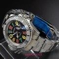 40mm Bliger Rotação de cerâmica de Vidro moldura de Safira Mostrador Preto Data de Chegada NOVA Mãos Luminosas Relógio Automático dos homens Mecânicos