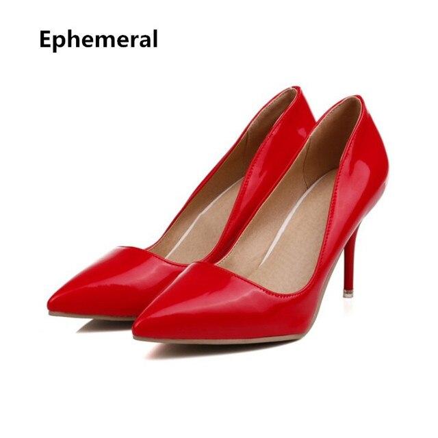 f278e0b0c3b9f4 Panie mody buty sexy sapatos mulher cienkie obcasy szpiczasty toe szpilki  żółty czarny różowy biały plus