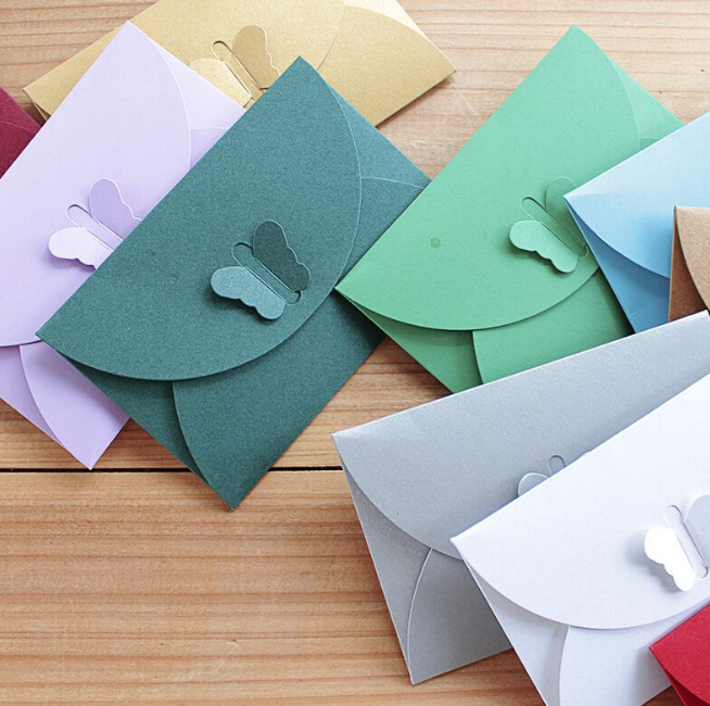 10 Pcs Kawaii Colored Butterfly Buckle Kraft Paper Envelopes Simple Love Small Paper Envelope Retro Buckle Decorative Envelope