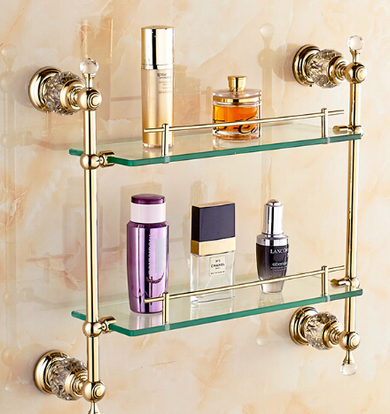 Free shipping Bathroom Glass Shelf Crystal & Copper Gold plated Dual Tier glass Cosmetic Shampoo Body Wash Shelves Bath shelf free shipping golden single bathroom shelf glass shelf brass made base glass shelf bathroom hardware bathroom accessories 67011