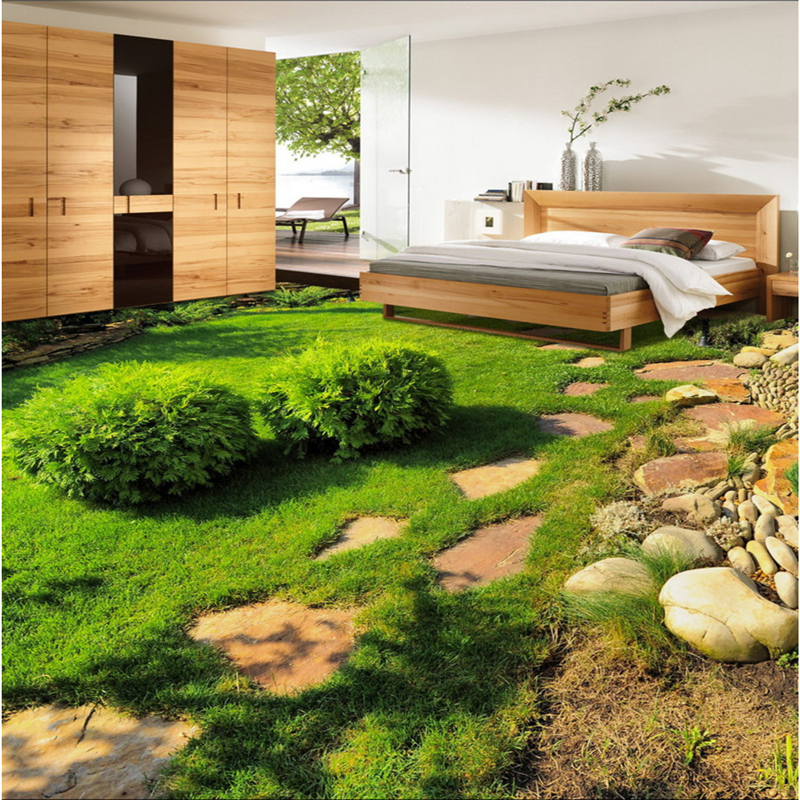 Beibehang Large Custom Flooring Green Fresh Plants Small Grass Bedroom Living Room 3D Stereo Floor Tiles