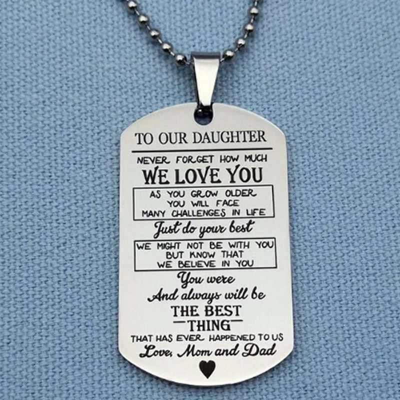 Paslanmaz Çelik Bizim Son/Kızı Kolye Kolye Aşk Baba Anne Köpek Etiketi Askeri Kolye Doğum Günü mezuniyet hediyesi Çocuklar Için