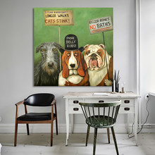 HDARTISAN Wall Art Dogs On Strike Animal Oil Painting Acrylic on Canvas Prints for Living Room Home Decoration No Framed(China)