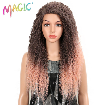 MAGIC Wigs For Black Women Kinky Curly Hair 26 Synthetic side part Lace Front Wig Glueless Heat Resistant Fiber Hair Lace Wig free shipping red hair kinky curly synthetic wig for black women 180 nsity lace front wigs heat resistant fiber