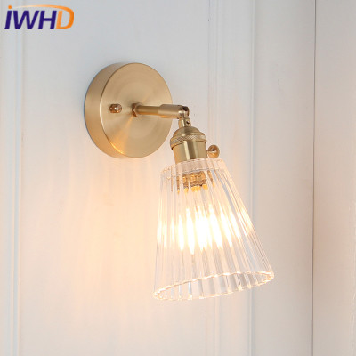 IWHD Nordic Style Wall Lamp Copper Brass LED Wall Lights Vintage Light Glass Fixtures For Home Lighting Bedside Sconce Luminaire nordic vintage loft style wall lamp glass wood rocker bedside light fixtures for alise bar cafe indoor home lighting luminaire