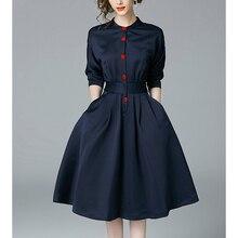 Fannico New Spring Autumn Vintage Dresses Women Slim 3/4 Sleeve A Line Office Wear Dress Elegant Laides Ol Work Business