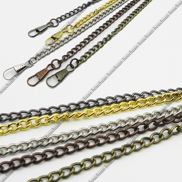 Golden / Silver / Black / Bronze / Copper 38CM Classic Plated Pocket Watch Chain