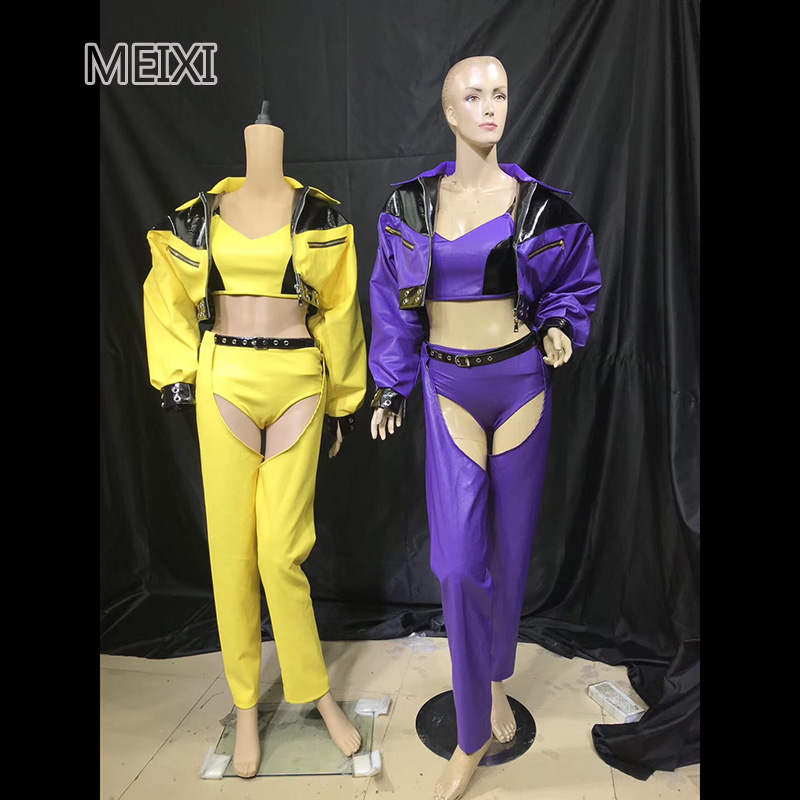 Hip Hop Lounge Sport Sexy Style Faux Fur Yellow Purple Bar Nightclub Party Concert Singer Dancer Costumes
