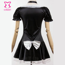 6XL Black Satin And White Lace French Maid Costume Sexy Adult Women Cosplay Maid Fancy Mini Dress Plus Size Halloween Costumes