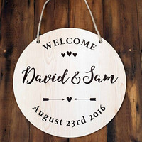 Personalized Wooden Party Wedding Sign, Custom Bride and Groom Welcome Wedding Party Decoration Signs,Wooden Wedding Signs