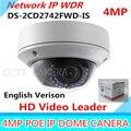 Оригинальный Английский Ip-камера DS-2CD2742FWD-IS 4MP HD 1080 P ИК vari-координационного Купольная Сетевая Камера с POE Камеры Видеонаблюдения 2.8 ~ 12 мм Аудио WDR