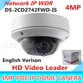 Original English IP Camera DS-2CD2742FWD-IS 4MP HD 1080p IR Vari-focal Dome Network Camera POE Cctv Camera 2.8~12mm Audio WDR