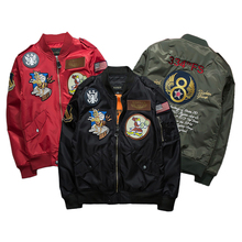 New Street fashion Men Bomber MA1 jacket Retro Embroidery Patch Cartoon Badge Anarchy Printing Coat Black Army green Red