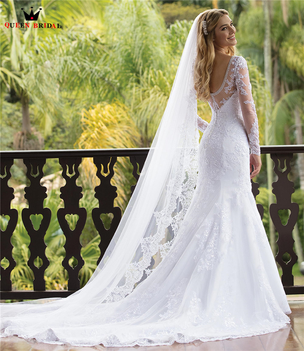 Custom Made Mermaid Long Sleeve Tulle Lace Beading Crystal Formal Sexy Bridal Wedding Dresses Vestido De Noiva 2020 WH84
