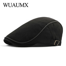 Wuaumx Spring Summer Berets Hat Men Breathable Newsboy Caps Sun Visors Mens Beret Herringbone Flat Adjustable Baret