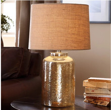Country Simple Creative Table Lamps New Style Cloth Cover Glass Body Table Lamps Bedroom Bedside Living Room Study Table Lamps