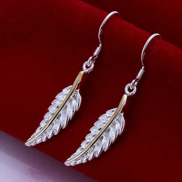 Silver Color Earrings Ornaments For Women Fashion Feather Jewellery Mens Whole Free Shipping Smte038