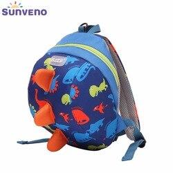 حقيبة ظهر SUNVENO للأطفال مُزينة برسوم كارتونية لطيفة ومزودة بحزام للظهر آمن ومضاد للضياع حقيبة ظهر على شكل ديناصور مشاية