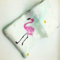 INS Hot Flamingo Baby Blanket Bedding Swaddle Wrap 70 Bamboo Fiber 30 Cotton Gauze Muslin Soft